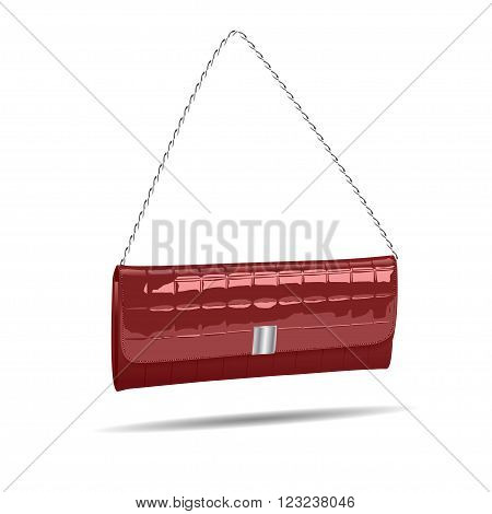 vinous women bag isolated on white photo-realistic illustration.