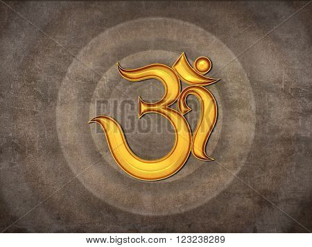 Traditional Hindu Om Icon - 3D Rendered Image