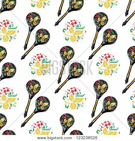 Russian wooden spoon seamless pattern. National cutlery with a floral ornament-khokhloma.
