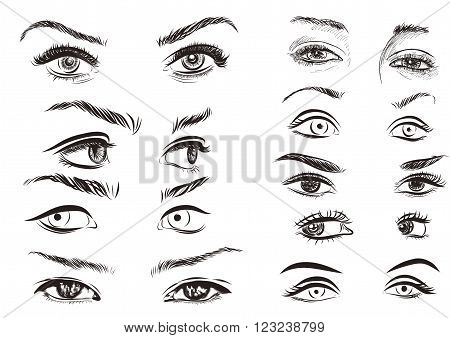hand drawn woman eyes collection on a white background.
