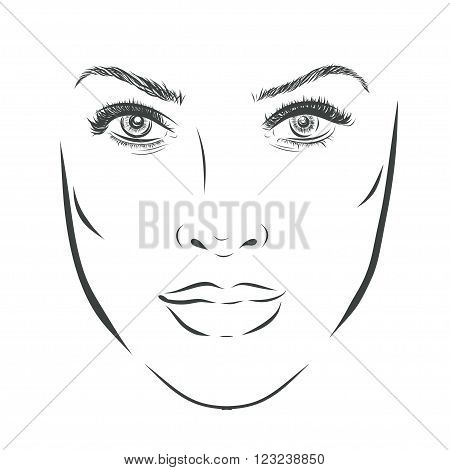 Beautiful fashion woman for make up portrait on background. illustration