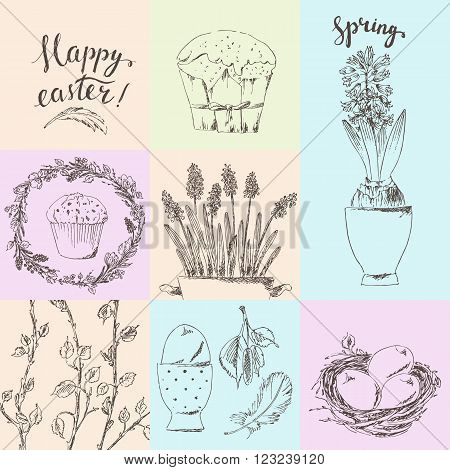 Hand drawn printable easter card set. Birch branches nest eggs feathers hyacinth easter cake wreath. Happy easter hand lettering.