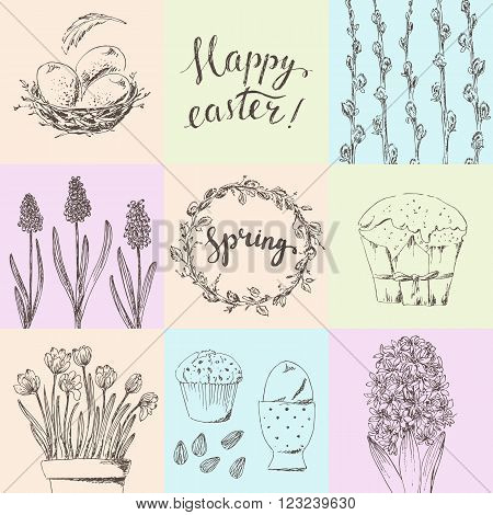 Hand drawn printable easter card set. Easter willow branches hyacinth bird nest crocus eggs willow wreath easter cake. Happy easter hand lettering.
