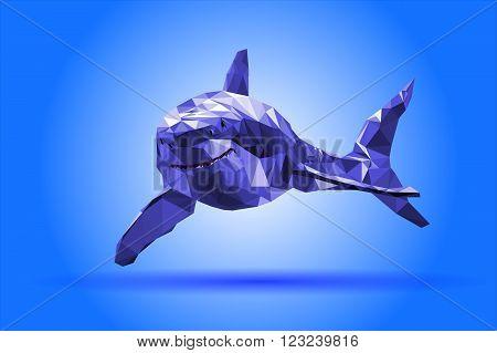 illustration Shark body vector isolated triangle blue