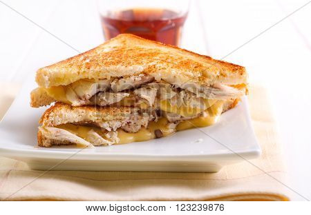 Grilled sandwiches with chicken and cheese filling
