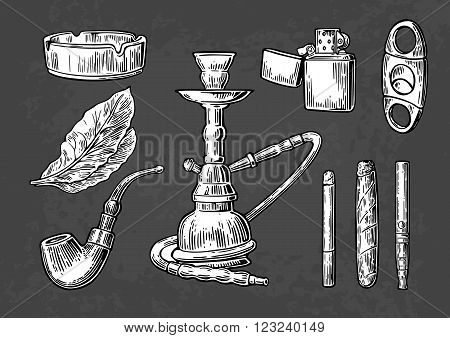 Set of vintage smoking tobacco elements. Monochrome style. Hookah lighter cigarette cigar ashtray pipe leaf and mouthpiece. Vector vintage engraved black illustration isolated on dark background.