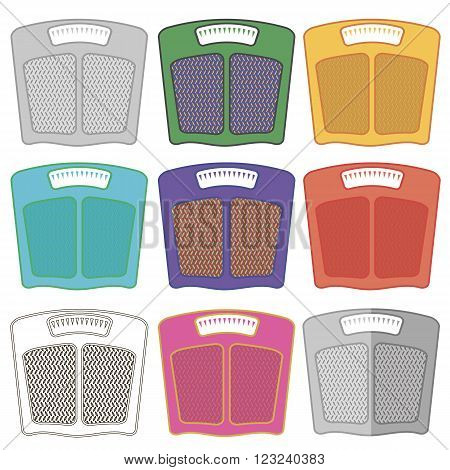 Set of Colorful Body Weigh Scales Icons Isolated on White Background. Bathroom Scales Symbols