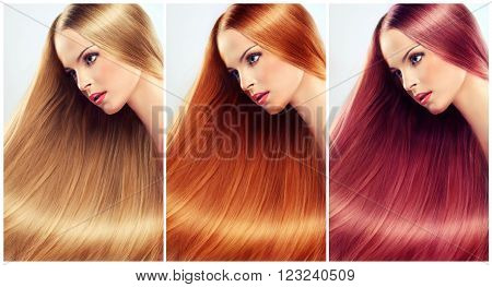 collage straight hair .Beautiful blonde , red head  woman with long  straight  healthy and shiny hair.   Hair care .