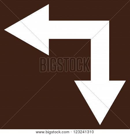 Bifurcation Arrow Left Down vector icon. Image style is flat bifurcation arrow left down pictogram symbol drawn with white color on a brown background.