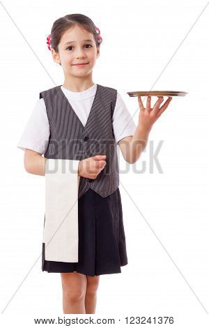 Little waitress standing with tray and towel, isolated on white