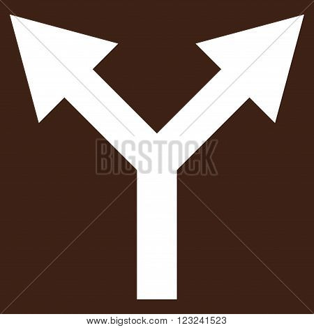 Bifurcation Arrow Up vector icon. Image style is flat bifurcation arrow up pictogram symbol drawn with white color on a brown background.