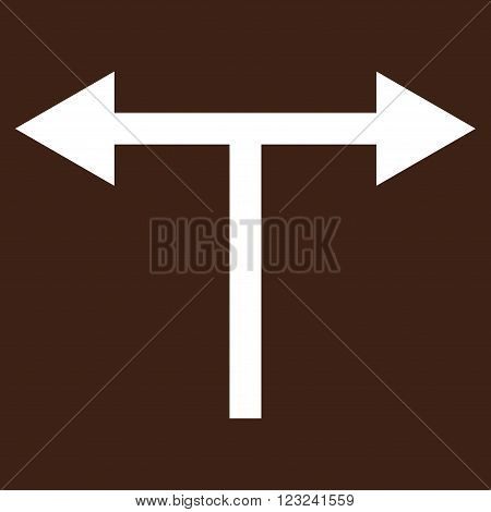 Bifurcation Arrows Left Right vector icon. Image style is flat bifurcation arrows left right pictogram symbol drawn with white color on a brown background.