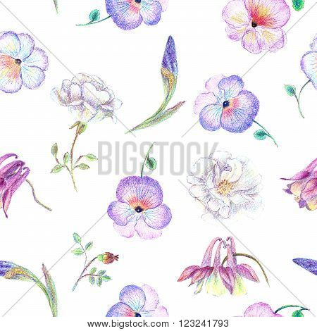 Hand drawn garden flower seamless pattern with pansy white rose columbine iris blossom for romantic background card or decoration