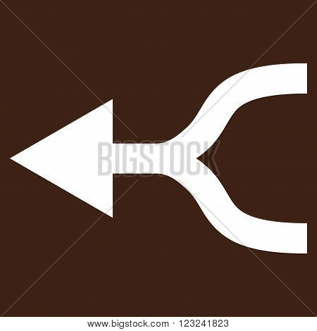 Combine Arrow Left vector icon. Image style is flat combine arrow left pictogram symbol drawn with white color on a brown background.