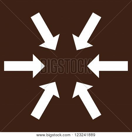 Compact Arrows vector icon. Image style is flat compact arrows pictogram symbol drawn with white color on a brown background.