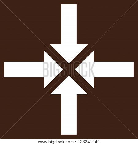 Compress Arrows vector icon. Image style is flat compress arrows pictogram symbol drawn with white color on a brown background.