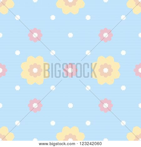 Gentle seamless pattern of flowers with serrated petals. Cute simple floral ornament in pastel blue, pink, yellow, orange colors. Vector illustration for fabric, scrapbooking paper and other