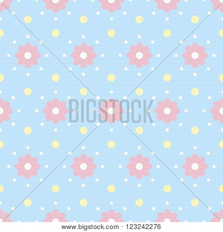 Gentle seamless pattern with polka dot and flowers. Cute baby print with simple floral ornament in white, pastel blue, pink, yellow colors. Vector illustration for fabric, scrapbooking paper and other