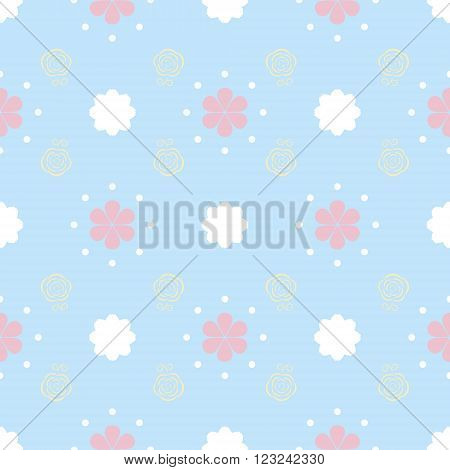 Gentle seamless pattern with flowers and dots. Cute baby print with simple floral ornament in white, pastel blue, pink, yellow colors. Vector illustration for fabric, paper and other