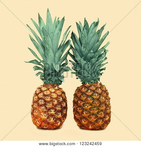 Two Pineapple On A Background, Ananas Photo Concept