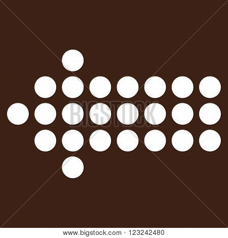 Dotted Arrow Left vector icon. Image style is flat dotted arrow left pictogram symbol drawn with white color on a brown background.