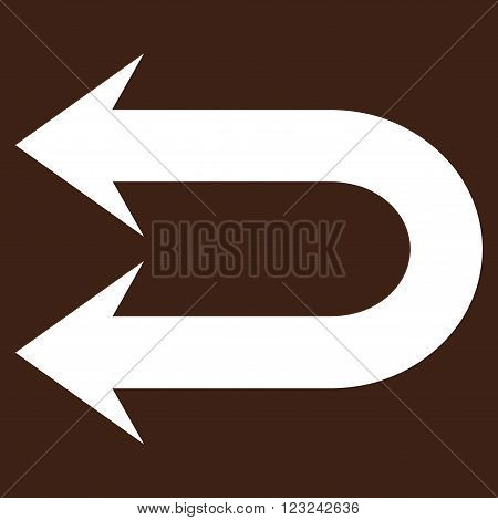 Double Left Arrow vector icon. Image style is flat double left arrow pictogram symbol drawn with white color on a brown background.