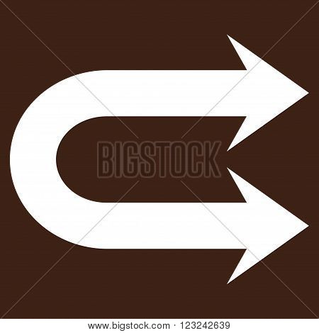 Double Right Arrow vector icon. Image style is flat double right arrow pictogram symbol drawn with white color on a brown background.