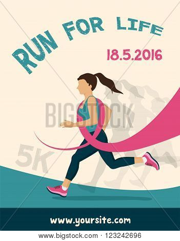 Sport Woman with Running Pink Ribbon, Breast Cancer Awareness. poster for running  competition