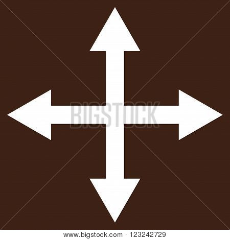 Expand Arrows vector icon. Image style is flat expand arrows pictogram symbol drawn with white color on a brown background.