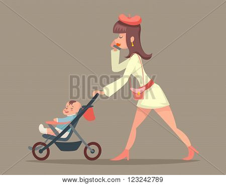 Vintage Woman Mother with Child Character Icon Stylish Background Retro Cartoon Design Vector Illustration