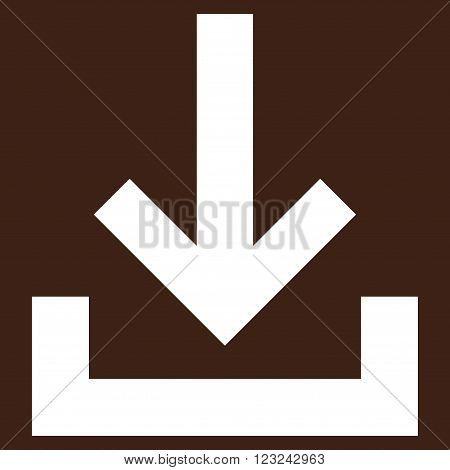 Inbox vector icon. Image style is flat inbox pictogram symbol drawn with white color on a brown background.