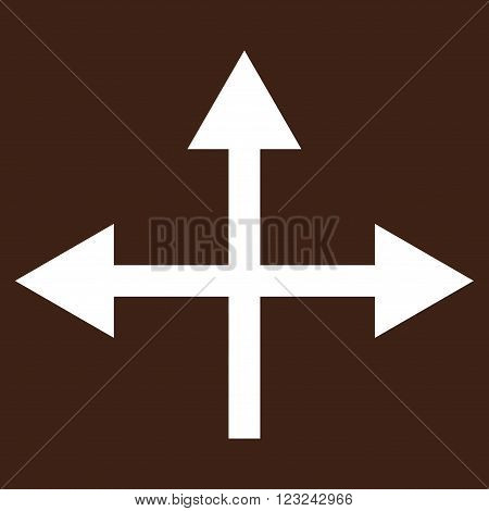 Intersection Directions vector icon. Image style is flat intersection directions pictogram symbol drawn with white color on a brown background.