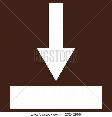 Move Bottom vector icon. Image style is flat move bottom pictogram symbol drawn with white color on a brown background.
