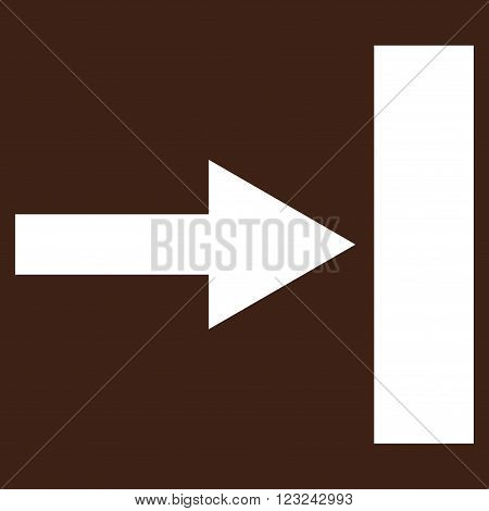 Move Right vector icon. Image style is flat move right pictogram symbol drawn with white color on a brown background.