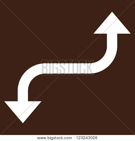 Opposite Curved Arrow vector icon. Image style is flat opposite curved arrow pictogram symbol drawn with white color on a brown background.