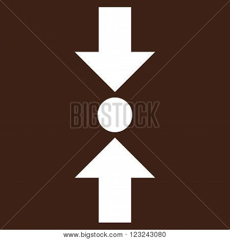 Pressure Vertical vector icon. Image style is flat pressure vertical pictogram symbol drawn with white color on a brown background.