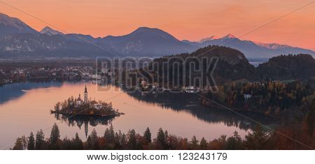 BLED, SLOVENIA - 08 NOVEMBER, 2015: Aerial view of church of Assumption in Lake Bled, Slovenia on 08 November, 2015.