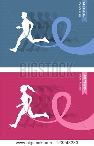Sport Woman Running Pink  Ribbon Breast Cancer Awareness Jogging Female Flat Vector Illustration