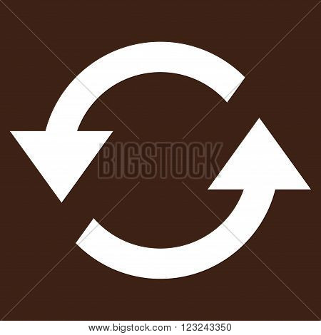 Refresh Arrows vector icon. Image style is flat refresh arrows pictogram symbol drawn with white color on a brown background.