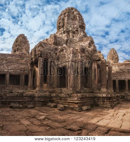 SIEM REAP, CAMBODIA. December 16, 2011. Ancient Khmer architecture. Amazing view of Bayon temple  Angkor Thom complex
