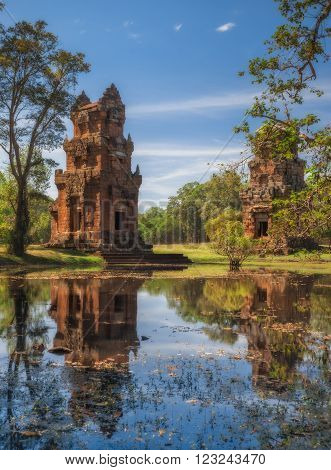 SIEM REAP, CAMBODIA. December 16, 2011. Kleangi and Prasat Suor Prat in Angkor Thom