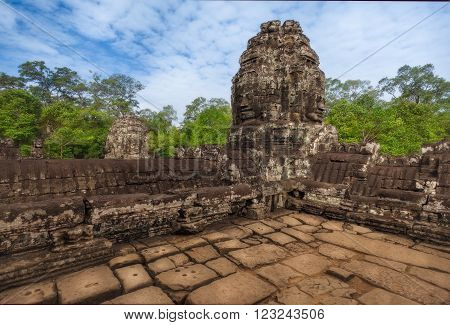 SIEM REAP, CAMBODIA. December 16, 2011. The ruins of Bayon Temple with many stone faces, Angkor Historical Park