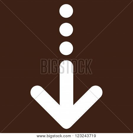 Send Down vector icon. Image style is flat send down pictogram symbol drawn with white color on a brown background.