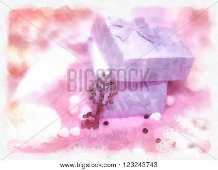 Magic romantic gift box with the lid open and a golden key. The watercolor.
