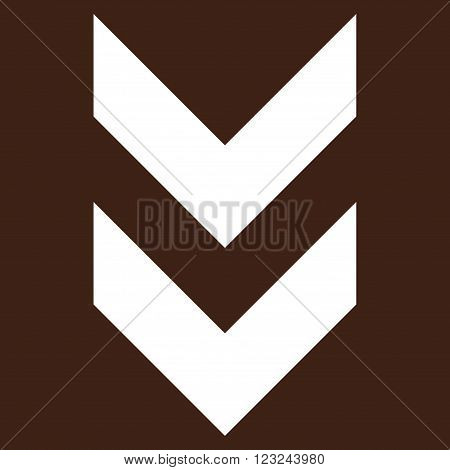 Shift Down vector icon. Image style is flat shift down pictogram symbol drawn with white color on a brown background.