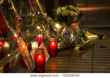 Madrid, Spain - March 22, 2016 - Flowers, Candles And Message In Memory Of Victims Of Terrorist Atta
