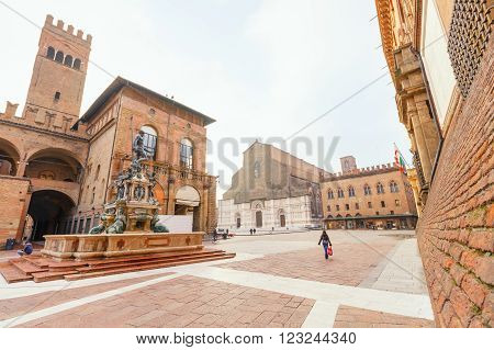 Bologna, Italy - October 30, 2015: The sunlight at dawn on the famous