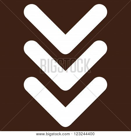 Triple Arrowhead Down vector icon. Image style is flat triple arrowhead down pictogram symbol drawn with white color on a brown background.