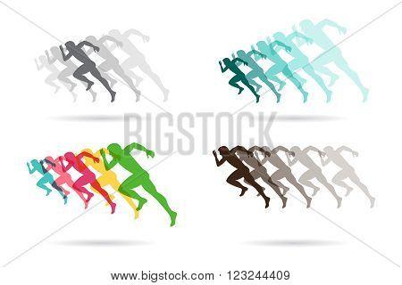 Artistic stylized running men in motion. vector illustration