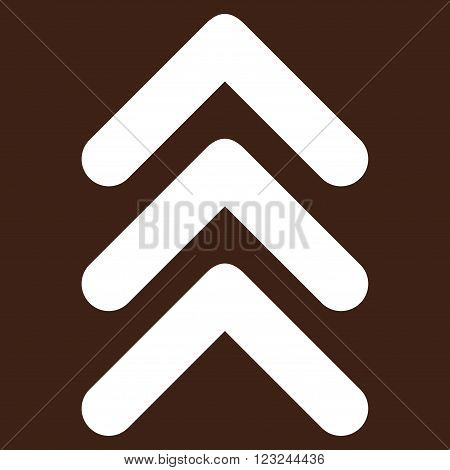 Triple Arrowhead Up vector icon. Image style is flat triple arrowhead up pictogram symbol drawn with white color on a brown background.